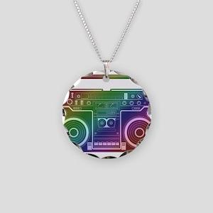 Rainbow Stereo Necklace Circle Charm