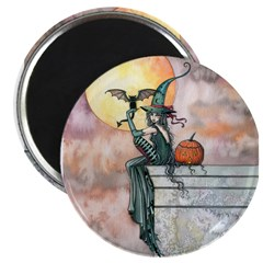 Batty Cat Halloween Witch Art 2.25