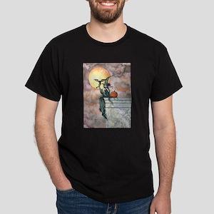 Batty Cat Halloween Witch Art Dark T-Shirt