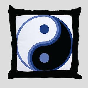 Yin Yang, Blue Throw Pillow