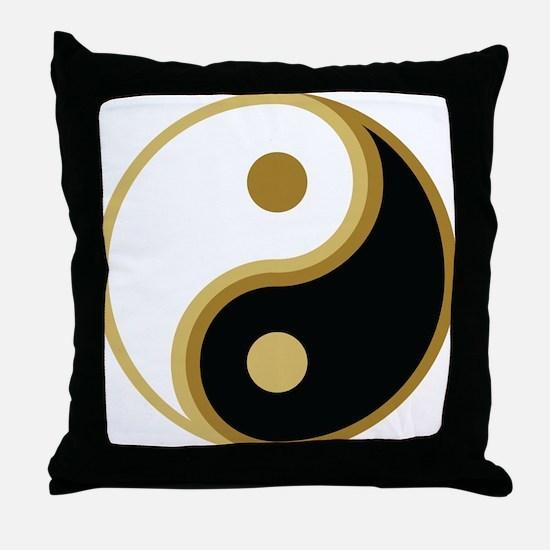 Yin Yang, Gold Throw Pillow