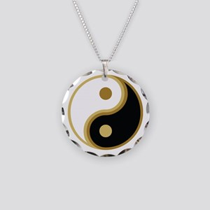 Yin Yang, Gold Necklace Circle Charm