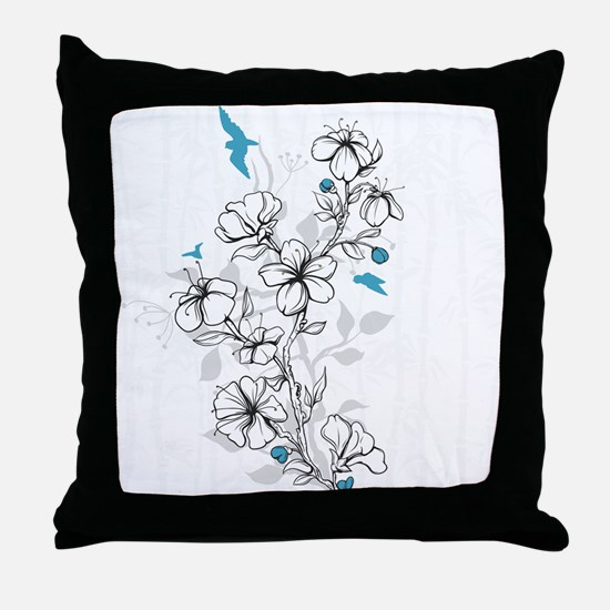 Hand-draw-flowers with birds Throw Pillow