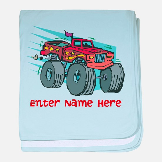 Personalized Monster Truck baby blanket