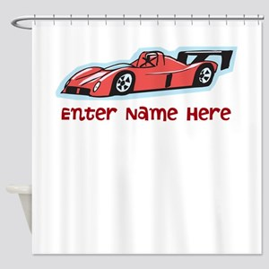 Personalized Racecar Shower Curtain