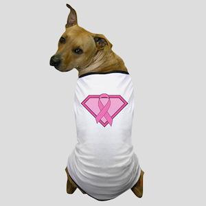 Superhero Shield Pink Ribbon Dog T-Shirt