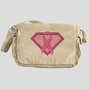 Superhero Shield Pink Ribbon Messenger Bag
