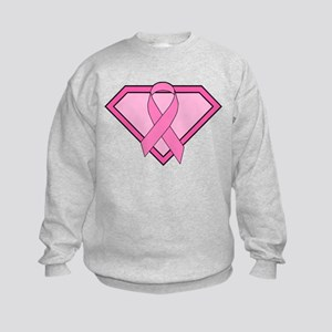 Superhero Shield Pink Ribbon Kids Sweatshirt