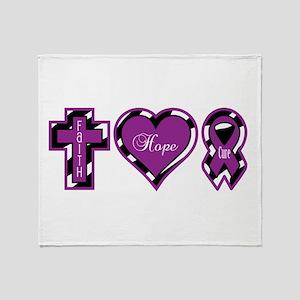 Zebra Faith Hope Cure CF Throw Blanket
