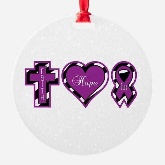 Zebra Faith Hope Cure CF Ornament