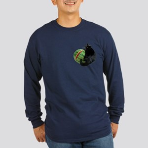 Cat with Watermelon Long Sleeve Dark T-Shirt