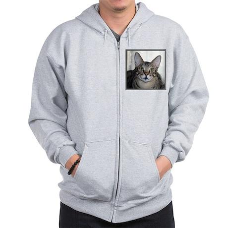 Savannah Cat Portrait with frame Zip Hoodie