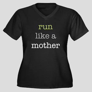 Run Like a Mother Women's Plus Size V-Neck Dark T-