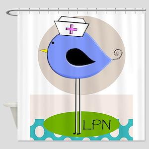 LPN bird purple Shower Curtain