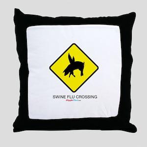 Swine Flu Crossing Sign 01 Throw Pillow