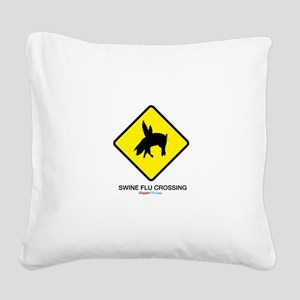 Swine Flu Crossing Sign 01 Square Canvas Pillow
