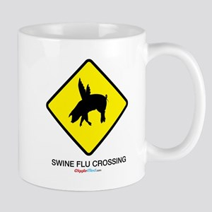 Swine Flu Crossing Sign 01 Mugs