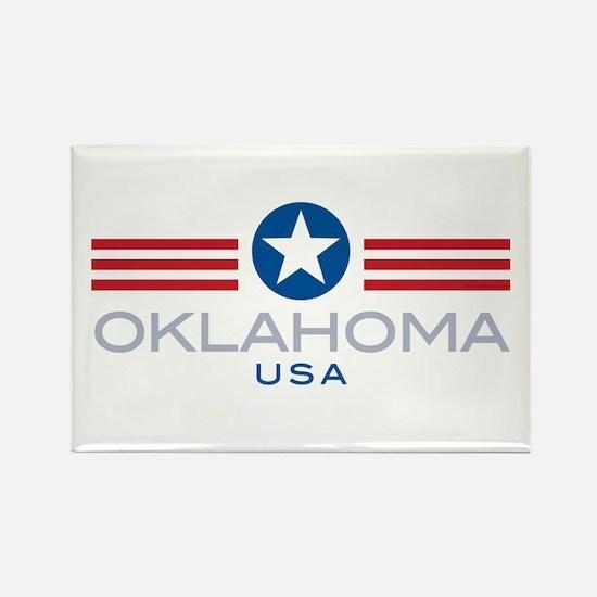 Oklahoma-Star Stripes: Rectangle Magnet