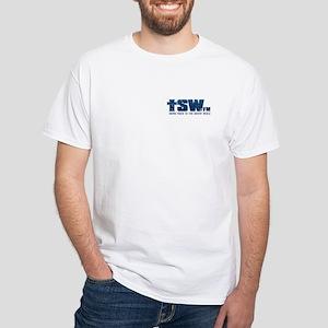 Blue TSW.fm Logo White T-Shirt
