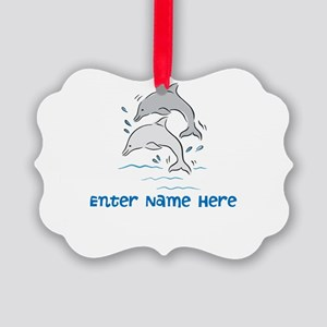 Personalized Dolphins Picture Ornament