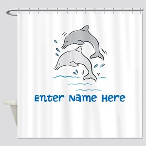 Personalized Dolphins Shower Curtain