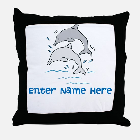 Personalized Dolphins Throw Pillow