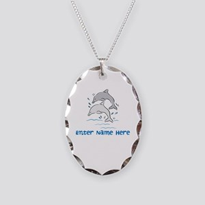 Personalized Dolphins Necklace Oval Charm