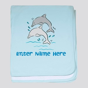 Personalized Dolphins baby blanket