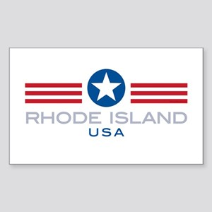 Rhode Island-Star Stripes: Rectangle Sticker
