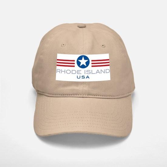 Rhode Island-Star Stripes: Baseball Baseball Cap