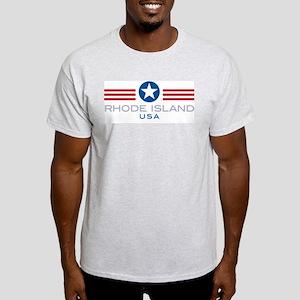 Rhode Island-Star Stripes: Ash Grey T-Shirt