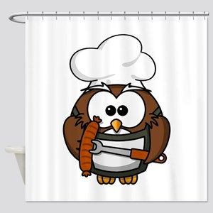 BBQ Cook Owl Shower Curtain