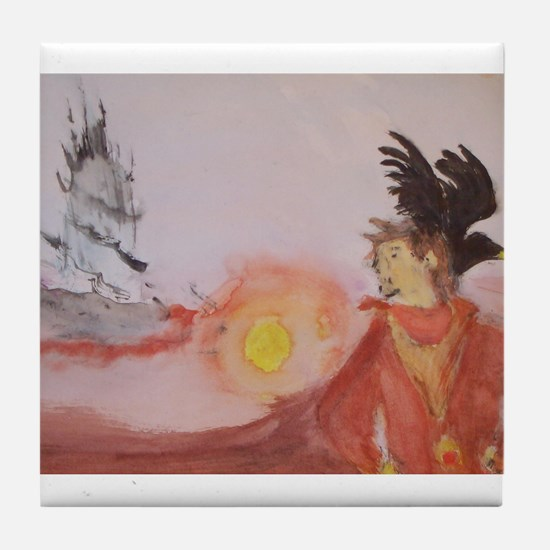 The Dark Tower Watercolor Painting Tile Coaster