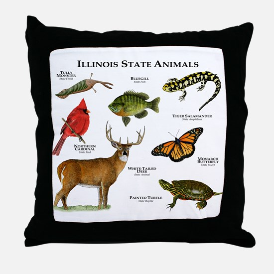 Illinois State Animals Throw Pillow
