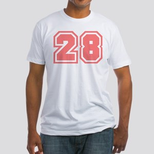 Varsity Uniform Number 28 (Pink) Fitted T-Shirt