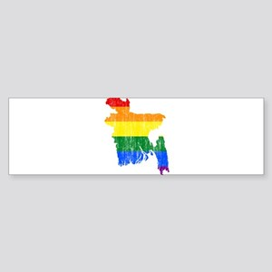Bangladesh Rainbow Pride Flag And Map Sticker (Bum