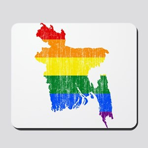 Bangladesh Rainbow Pride Flag And Map Mousepad