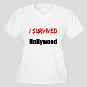 I survived HOLLYWOOD Women's Plus Size V-Neck T-Sh