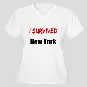 I survived NEW YORK Women's Plus Size V-Neck T-Shi