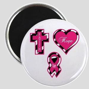 Pink Zebra Faith Hope Cure Magnet