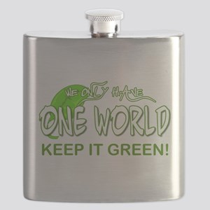 ONE WORLD KEEP IT GREEN Flask