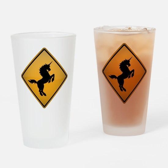 Unicorn Warning Sign Drinking Glass