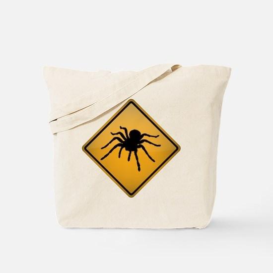 Tarantula Warning Sign Tote Bag