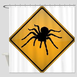 Tarantula Warning Sign Shower Curtain