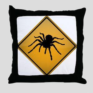 Tarantula Warning Sign Throw Pillow