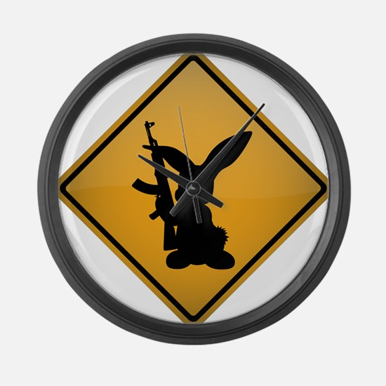 Rabbit with Gun Warning Sign Large Wall Clock