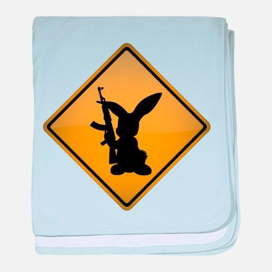 Rabbit with Gun Warning Sign baby blanket