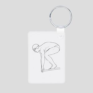 Swimming Aluminum Photo Keychain
