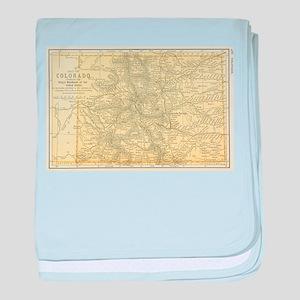 Vintage Map of Colorado (1891) baby blanket