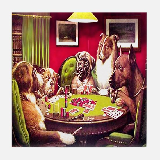 POKER DOGS Tile Coaster